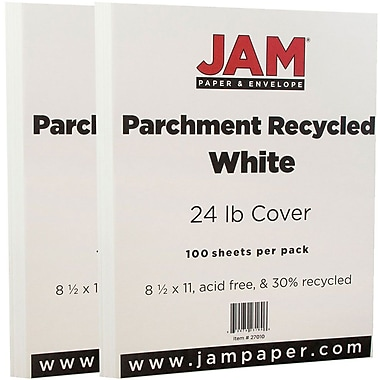 JAM Paper Parchment Paper, 8.5 x 11, 24lb White Recycled, 2 packs of 100 (27010g)