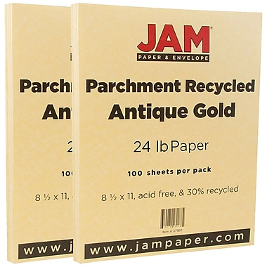 JAM Paper® Parchment Paper, 8.5 x 11, 24lb Antique Gold Yellow Recycled, 2 packs of 100 (27160g)