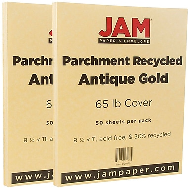 JAM Paper® Parchment Cardstock, 8.5 x 11, 65lb Antique Gold Yellow Recycled, 2 packs of 50 (27179g)