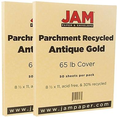 JAM PaperMD – 65 lb, papier couverture cartonné recyclé parchemin, 8 1/2 x 11 po, or antique, paquet de 100 feuilles