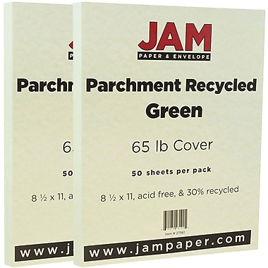 JAM Paper® Parchment Cardstock, 8.5 x 11, 65lb Green Recycled, 2 packs of 50 (27561g)