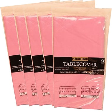 JAM Paper® Paper Table Covers, Pink Table Cloths, 5/Pack (291323314g)