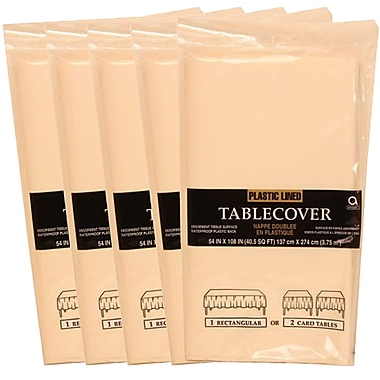 JAM Paper® Paper Table Covers, Ivory Table Cloths, 5/Pack (291323332g)