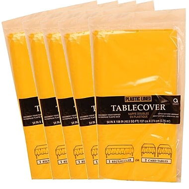 JAM Paper® Paper Table Covers, Yellow Table Cloths, 5/Pack (291323338g)