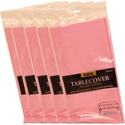 JAM Paper® Plastic Table Covers, Pink Table Cloths, 5/Pack (291423339g)