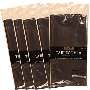 JAM Paper® Plastic Table Covers, Black Table Cloths, 5/Pack (291423352g)