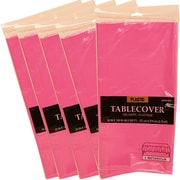 JAM Paper® Plastic Table Covers, Fuchsia Pink Table Cloths, 5/Pack (291423355g)
