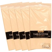 JAM Paper® Plastic Table Covers, Ivory Table Cloths, 5/Pack (291423356g)