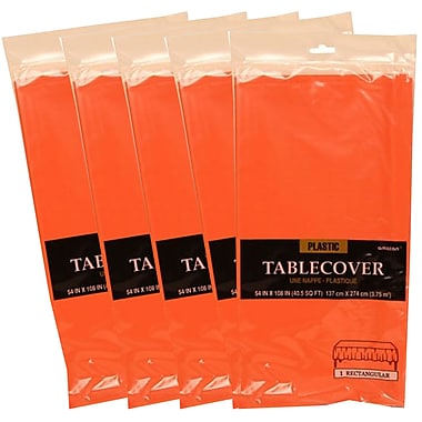 JAM Paper® Plastic Table Covers, Orange Table Cloths, 5/Pack (291423358g)