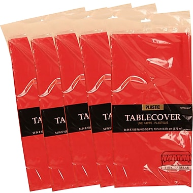 JAM Paper® Plastic Table Covers, Red Table Cloths, 5/Pack (291423360g)