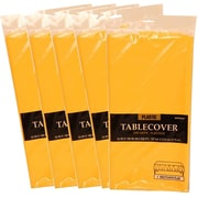 JAM Paper® Plastic Table Covers, Yellow Table Cloths, 5/Pack (291423362g)