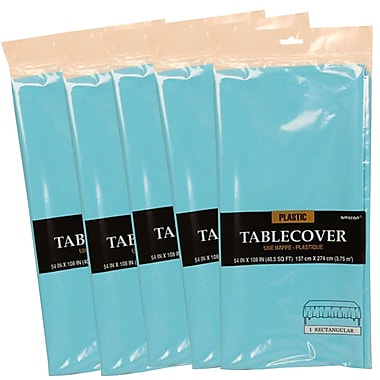 JAM Paper® Plastic Table Covers, Sea Blue Table Cloths, 5/Pack (291423363g)