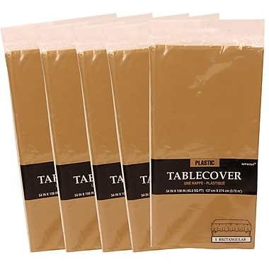 JAM Paper® Plastic Table Covers, Gold Table Cloths, 5/Pack (291425371g)
