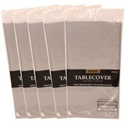 JAM Paper® Plastic Table Covers, Silver Table Cloths, 5/Pack (291425381g)