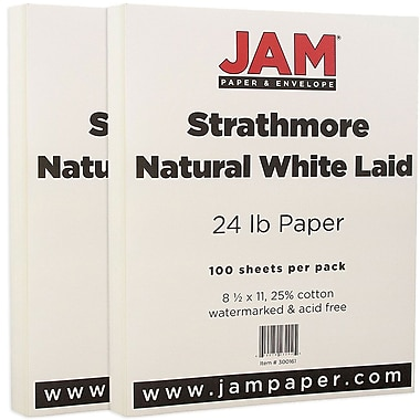 JAM Paper® Strathmore Paper, 8.5 x 11, 24lb Natural White Laid, 2 packs of 100 (300161g)