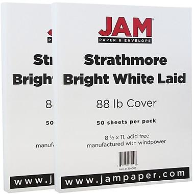 JAM Paper® Strathmore Cardstock, 8.5 x 11, 88lb Bright White Laid, 100/Pack (301005g)
