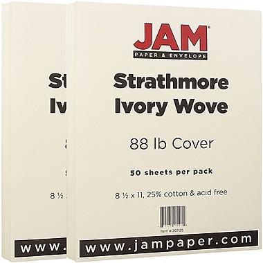 JAM Paper® Strathmore Cardstock, 8.5 x 11, 80lb Ivory Wove, 100/Pack (301125g)