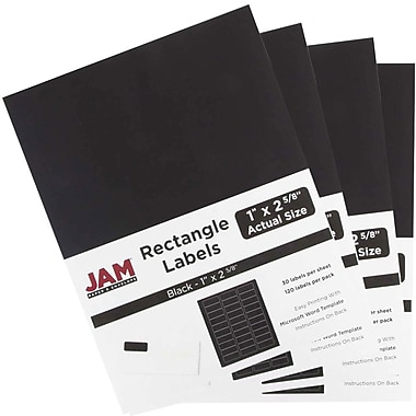 JAM Paper® Mailing Address Labels, 1 x 2 5/8, AstroBrights® Black, 4 packs of 120 (302228592g)