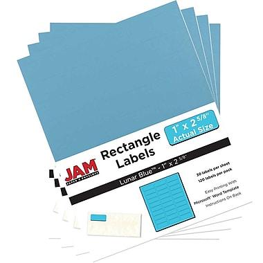 JAM Paper® Mailing Address Labels, 1 x 2 5/8, AstroBrights® Lunar Blue, 4 packs of 120 (302725762g)