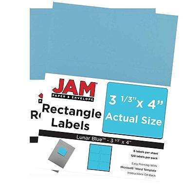 JAM PaperMD – Étiquettes d'adresse pour le courrier, 4 x 3 1/3 po, bleu lune Astrobright, 240/pqt