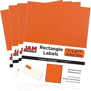 JAM Paper® Mailing Address Labels, 1 x 2 5/8, AstroBrights® Cosmic Orange, 4 packs of 120 (302725782g)