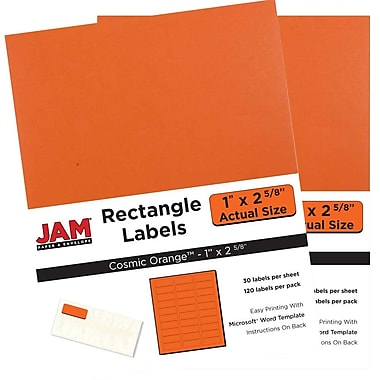 JAM Paper® Mailing Address Labels, 2 x 4, AstroBrights® Cosmic Orange, 2 packs of 120 (302725784g)