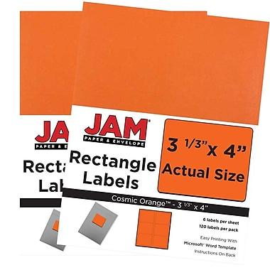 JAM PaperMD – Étiquettes d'adresse pour le courrier, 4 x 3 1/3 po, orange cosmique Astrobright, 240/pqt