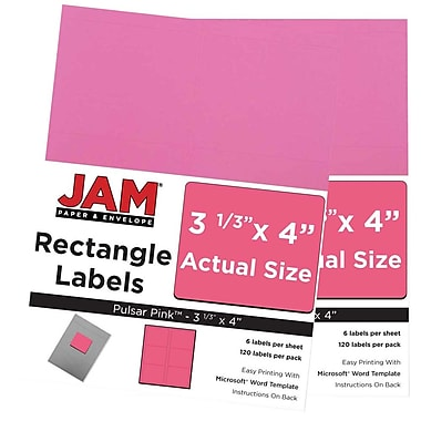 JAM Paper® Mailing Address Labels, 3 1/3 x 4, AstroBrights® Pulsar Pink, 2 packs of 120 (302725799g)