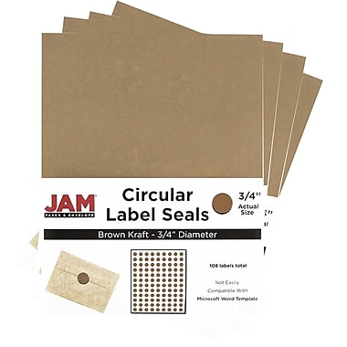 JamMD – Sceaux autocollants ronds en papier kraft pour étiquettes, 3/4 po, brun, paquet de 480