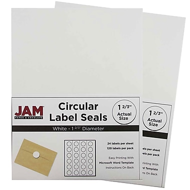 JAM Paper® Round Circle Label Sticker Seals, 1 2/3 inch diameter, White, 2 packs of 120 (3147612193g)