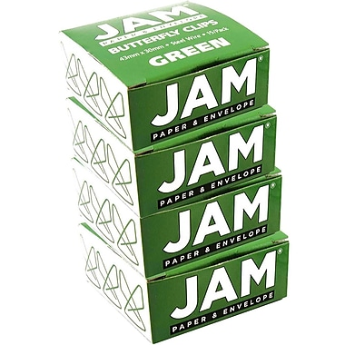 JAM Paper® Butterfly Paper Clips, Green Paperclips, 4 packs of 15 (332BYgrg)
