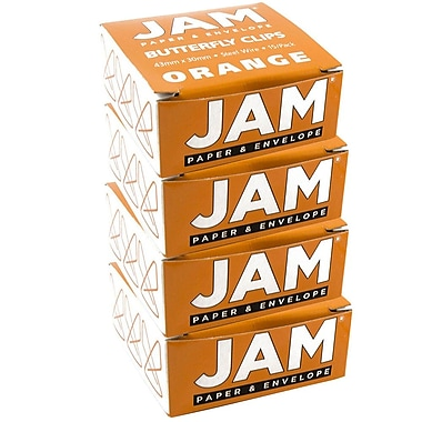 JAM Paper® Butterfly Paper Clips, Orange Paperclips, 4 packs of 15 (332BYorg)