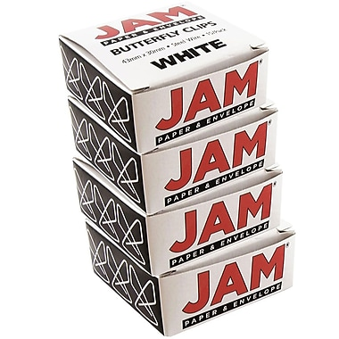 JAM Paper® Butterfly Paper Clips, White Paperclips, 2 packs of 25 (332BYwhg)
