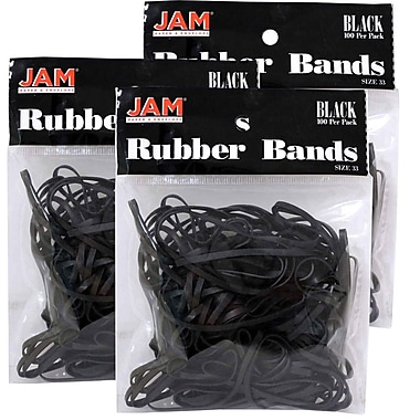 JAM Paper® Rubber Bands, #33 Size, Black Rubberbands, 300/Pack (333RBblg)