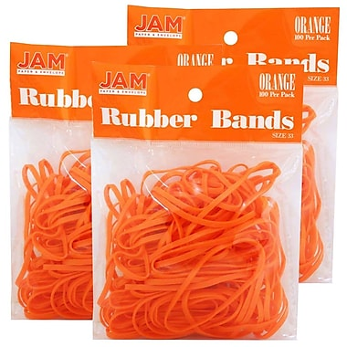 JAM Paper® Rubber Bands, #33 Size, Orange Rubberbands, 300/Pack (333RBorg)