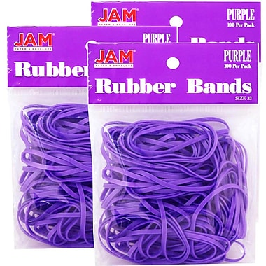 JAM Paper® Rubber Bands, #33 Size, Purple Rubberbands, 300/Pack (333RBpug)