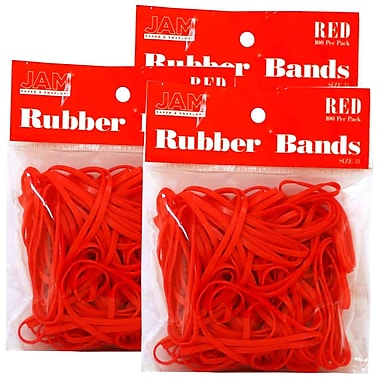 JAM Paper® Rubber Bands, #33 Size, Red Rubberbands, 300/Pack (333RBreg)