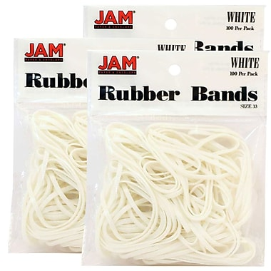 JAM Paper® Rubber Bands, #33 Size, White Rubberbands, 300/Pack (333RBwhg)