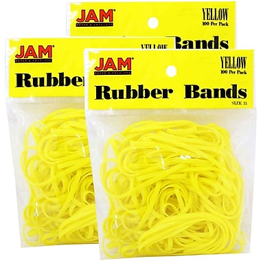 JAM Paper® Rubber Bands, #33 Size, Yellow Rubberbands, 300/Pack (333RByeg)