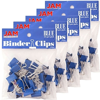 JAM Paper® Binder Clips, Small, 19mm, Blue Binderclips, 5 packs of 25 (334BCBUg)