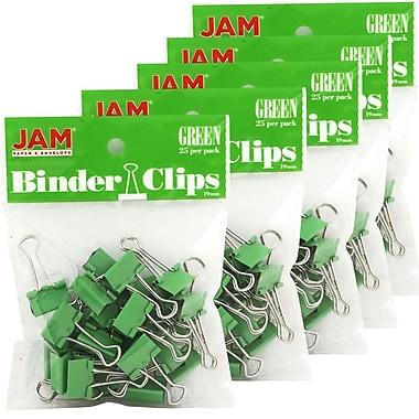 JAM Paper® Binder Clips, Small, 19mm, Green Binderclips 5 packs of 25 (334BCGRg)