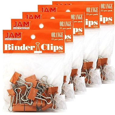 JAM Paper® Binder Clips, Small, 19mm, Orange Binderclips, 5 packs of 25 (334BCORg)
