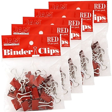 JAM Paper® Binder Clips, Small, 19mm, Red Binderclips, 5 packs of 25 (334BCREg)