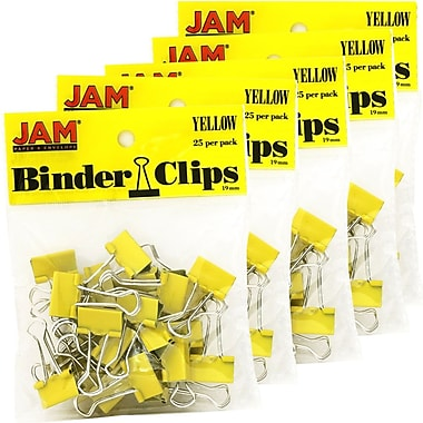 JAM Paper® Binder Clips, Small, 19mm, Yellow Binderclips, 5 packs of 25 (334BCYEg)