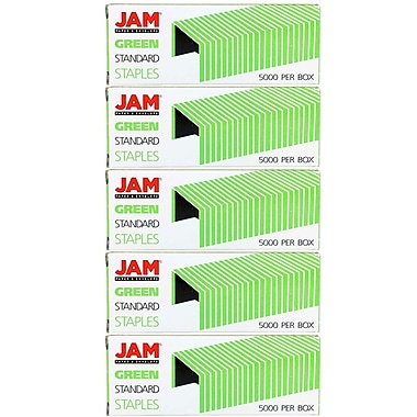 JAM Paper® Standard Size Colourful Staples, Green, 5/Pack (335grg)
