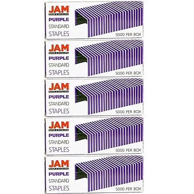 JAM Paper® Standard Size Colourful Staples, Purple, 5/Pack (335pug)
