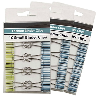 JAM Paper® Fashion Design Binder Clips, Small, 19mm, Green and Blue Binderclips with Stripes, 3 packs of 10 (336128839g)