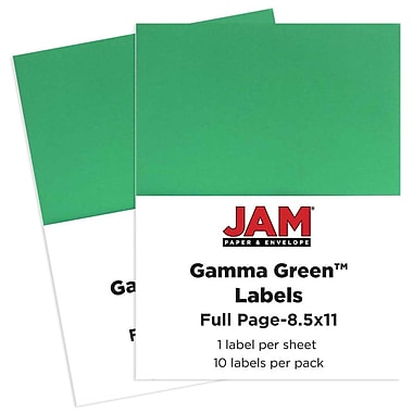 JAM Paper® Full Page Labels, 8.5 x 11 Sticker Paper, AstroBrights® Gamma Green, 2 packs of 10 (337628607g)