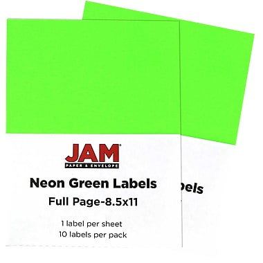 JAM Paper® Full Page Labels, 8.5 x 11 Sticker Paper, Neon Green, 2 packs of 10 (337628609g)