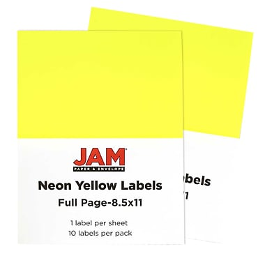 JAM Paper® Full Page Labels, 8.5 x 11 Sticker Paper, Neon Yellow, 2 packs of 10 (337628611g)